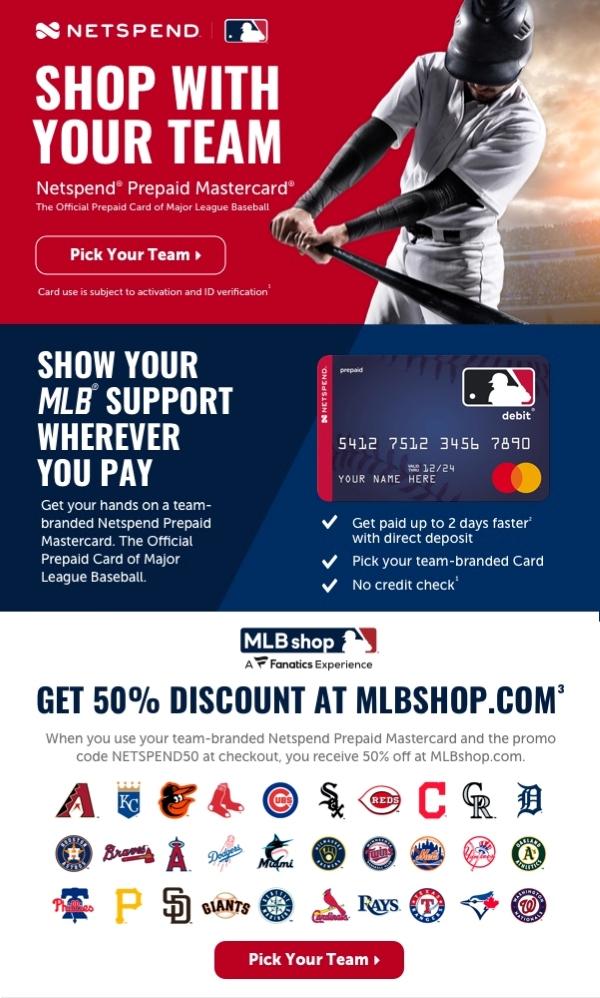 Netspend Prepaid Mastercard The official Prepaid Card of Major League Baseball Pick your Team