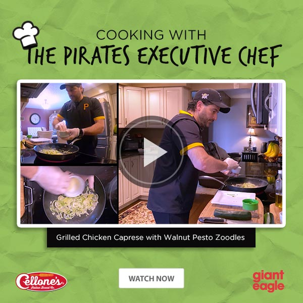 Cooking with the Pirates Executive Chef - Grilled Chicken Caprese with Walnut Pesto Zoodles. Watch Now.